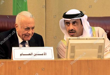 United Arab Emirates (uae) Foreign Relations Minister Sheikh Abdullah Bin Zayed Al Nahyan (r) Arab League Secretary General Nabil Al-arabi (l) Attend the Arab Foreign Ministers Emergency Meeting at the League Headquarters in Cairo Egypt 10 January 2016 the Arab League Foreign Ministers Meet in Cairo to Discuss the Saudi-iranian Tensions Egypt Cairo