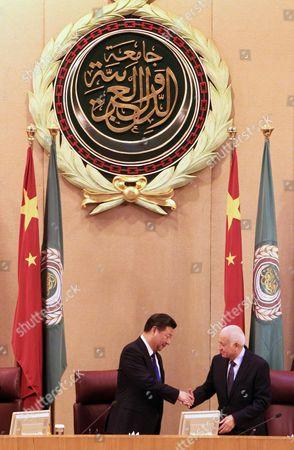 Arab League Secretary General Nabil Al-arabi (r) Welcomes Chinese President Xi Jinping (l) at Arab League Headquarter in Cairo Egypt 21 January 2016 Chinese President Xi Jinping Arrived in Egypt on 20 January Part of a Three-nation Tour That Has Already Taken Him to Saudi Arabia Egypt Cairo
