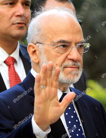 Iraqi Foreign Minister Ibrahim Al-jafari Gestures Upon His Arrival to Attend the Arab League Foreign Ministers Emergency Meeting at the League's Headquarters in Cairo Egypt 10 January 2016 the Arab League Foreign Ministers Meet in Cairo to Discuss the Saudi-iranian Tensions Egypt Cairo