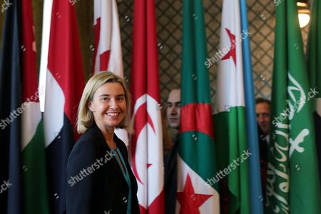The Eu Representative For Foreign Affairs Federica Mogherini Arrives For a Joint Press Conference with the Secretary General of the Arab League Nabil Al-arabi (not Pictured) at the Arab League Headquarters Cairo Egypt 03 November 2015 Mogherini is on a Two Date Visit to the Country to Meet Politicans and Comes After 68 Million Euros was Earmarked by the Eu For the Egypt Gas Connection Project Aimed at Boosting the North African Country's Energy Sector Egypt Cairo