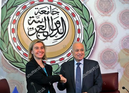 Eu Representative For Foreign Affairs Federica Mogherini (l) Shakes Hands with Secretary General of the Arab League Nabil Al-arabi (r) After Signing a Bilateral Agreement at the Arab League Headquarters Cairo Egypt 03 November 2015 Mogherini is on a Two Date Visit to the Country to Meet Politicans and Comes After 68 Million Euros was Earmarked by the Eu For the Egypt Gas Connection Project Aimed at Boosting the North African Country's Energy Sector Egypt Cairo