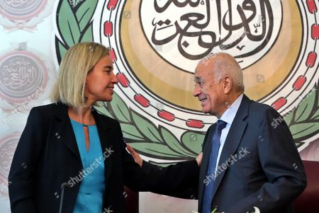 Eu Representative For Foreign Affairs Federica Mogherini (l) Smiles at the Secretary General of the Arab League Nabil Al-arabi (r) After Signing a Bilateral Agreement at the Arab League Headquarters Cairo Egypt 03 November 2015 Mogherini is on a Two Date Visit to the Country to Meet Politicans and Comes After 68 Million Euros was Earmarked by the Eu For the Egypt Gas Connection Project Aimed at Boosting the North African Country's Energy Sector Egypt Cairo