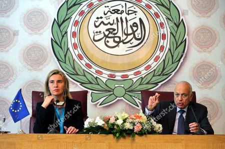 The Secretary General of the Arab League Nabil Al-arabi (r) Speaks During a Joint Press Conference with the Eu Representative For Foreign Affairs Federica Mogherini (l) at the Arab League Headquarters Cairo Egypt 03 November 2015 Mogherini is on a Two Date Visit to the Country to Meet Politicans and Comes After 68 Million Euros was Earmarked by the Eu For the Egypt Gas Connection Project Aimed at Boosting the North African Country's Energy Sector Egypt Cairo