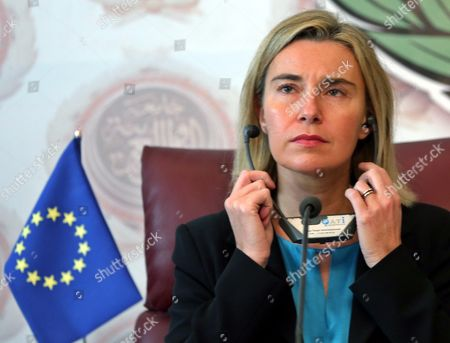 The Eu Representative For Foreign Affairs Federica Mogherini Listens During a Joint Press Conference with the Secretary General of the Arab League Nabil Al-arabi (not Pictured) at the Arab League Headquarters Cairo Egypt 03 November 2015 Mogherini is on a Two Date Visit to the Country to Meet Politicans and Comes After 68 Million Euros was Earmarked by the Eu For the Egypt Gas Connection Project Aimed at Boosting the North African Country's Energy Sector Egypt Cairo