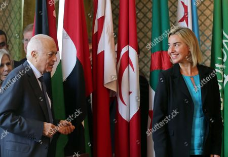 The Eu Representative For Foreign Affairs Federica Mogherini (r) and the Secretary General of the Arab League Nabil Al-arabi (l) Arrive For a Joint Press Conference at the Arab League Headquarters Cairo Egypt 03 November 2015 Mogherini is on a Two Date Visit to the Country to Meet Politicans and Comes After 68 Million Euros was Earmarked by the Eu For the Egypt Gas Connection Project Aimed at Boosting the North African Country's Energy Sector Egypt Cairo