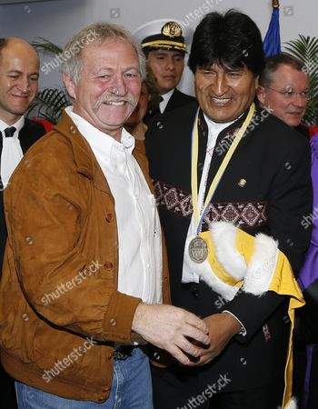 Bolivian President Evo Morales (r) with French Farmer and Member of the European Parliament Jose Bove (l) As He Receives the 'Docteur Honoris Causa' From the University of Pau and Pays De L'adour in Pau Southern France 07 November 2015 Morales is on a Three-day Visit to France France Pau