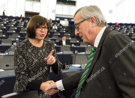 German Rebecca Harms Member of the European Parliament For Alliance 90/the Greens Shakes Hands with Jean-claude Juncker (r) President of the European Commission Before the Key Debate About the Recent Terrorist Attacks in Paris in the European Parliament in Strasbourg France 25 November 2015 the Debate is Expected to Focus on the Current and Envisaged Anti-terror Measures Stepping Up Information-sharing Among Eu Member States and Tackling Terrorist Financing in the Wake of the 13 November Terrorist Attacks in Paris France Strasbourg