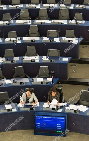 Members of European Paliament Kathleen Van Brempt (l) From Belgium of the Group of the Progressive Alliance of Socialists and Democrats in the European Parliament and German Rebecca Harms (r) Member of the European Parliament For Alliance 90/the Greens Sit in the European Parliament in Strasbourg France 06 October 2015 During the Debate of the Emission Measurements in the Automotive Sector France Strasbourg