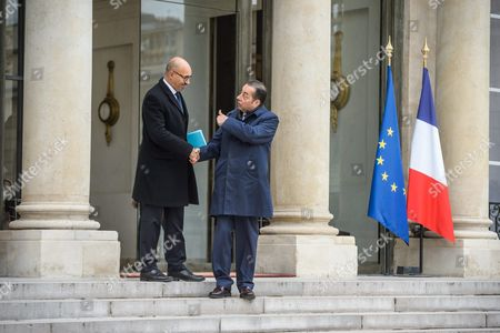 French European Minister Harlem Desir (l) and Gianni Pitella (r) Head of the Group of the Progressive Alliance of Socialists and Democrats in the European Parliament Leave the Elysee Palace After a Meeting with President Francois Hollande (not Pictured) in Paris France 21 October 2015 France Paris