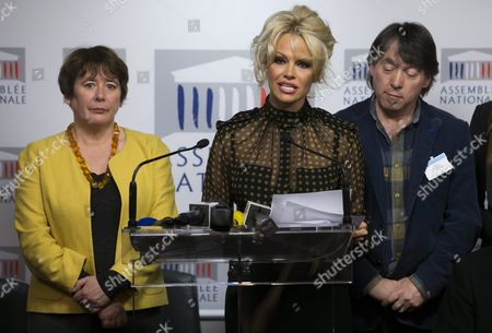 Stock Picture of (l-r) French Member of Parliament Laurence Abeille Canadian-born Actress Pamela Anderson and Head of Blobal Action in the Interest of Animals (gaia) Michel Vandenbosch Attend a News Conference Against the Production of French Delicacy 'Foie Gras' at the National Assembly (french Parliament) in Paris France 19 January 2016 Pamela Anderson Spoke out Against the Process of Force-feeding Geese and Ducks Labelling the Production of Foie-gras As Unethical France Paris