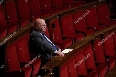 French Deputy Andre Santini Waits Inside the French National Assembly Prior a Debate on French Military Intervention in Syria in Paris France 15 September 2015 France Paris