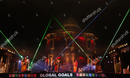 Stock Photo of Indian Band Led by Raghu Dixit Perform During the 'Light the Way Event' to Celebrate the Adoption of Global Goals by Indian Prime Minister Narendra Modi at the Old Fort in New Delhi India 24 September 2015 Indian Prime Minister Along with Other World Leaders Will Adopt the Global Goals to Tackle the Issues of Poverty Inequality and Climate Change at the Un Summit Which is Going to Be Held in New York on 25 September 2015 India New Delhi