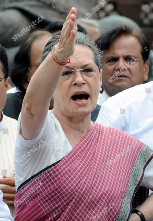 Indian Congress President Sonia Gandhi Shouts Slogans During a Protest Against the Week Long Suspension of 25 Lawmakers From Their Party by Lok Sabha Speaker Sumitra Mahajan Outside the Indian Parliament Building in New Delhi India 05 August 2015 According to Reports 03 August the Speaker of India's Parliament Suspended 25 Lawmakers From the Main Opposition Party For Causing 'Grave Disorder' with Repeated Disruptions Indian National Congress Party Members Have Hindered Parliament's Ability to Carry out Business Since the Monsoon Session Began 21 July and Demanded the Resignations of Two Leaders From the Ruling Bharatiya Janata Party (bjp) For Their Alleged Favors For Lalit Modi the Architect of India's Lucrative Cricket Premier League Now Under Investigation For Financial Irregularities India New Delhi