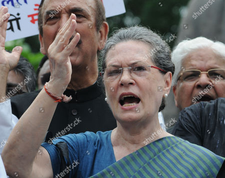 Indian Congress President Sonia Gandhi Shouts Slogans During a Protest Against the Week Long Suspension of 25 Lawmakers From Their Party by Lok Sabha Speaker Sumitra Mahajan in New Delhi 07 August 2015 According to Reports 03 August the Speaker of India's Parliament Suspended 25 Lawmakers From the Main Opposition Party For Causing 'Grave Disorder' with Repeated Disruptions Indian National Congress Party Members Have Hindered Parliament's Ability to Carry out Business Since the Monsoon Session Began 21 July and Demanded the Resignations of Two Leaders From the Ruling Bharatiya Janata Party (bjp) For Their Alleged Favors For Lalit Modi the Architect of India's Lucrative Cricket Premier League Now Under Investigation For Financial Irregularities India New Delhi