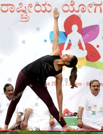 Indian Bollywood Actress Bipasha Basu Participates in a Mass Yoga Demonstration on the Occasion of the Second International Day of Yoga in Bangalore India 21 June 2016 the United Nations Has Declared 21 June As the International Yoga Day After Adopting a Resolution Proposed by Indian Prime Minister Narendra Modi's Government India Bangalore