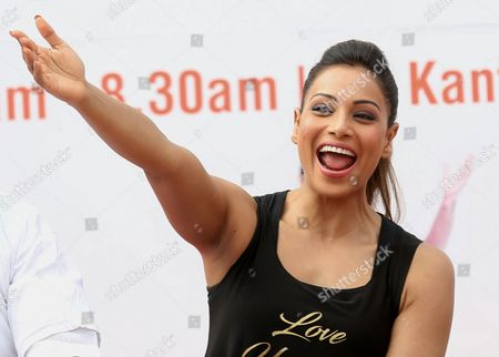 Indian Bollywood Actress Bipasha Basu Attends a Laughing Session During a Mass Yoga Demonstration on the Occasion of the Second International Day of Yoga in Bangalore India 21 June 2016 the United Nations Has Declared 21 June As the International Yoga Day After Adopting a Resolution Proposed by Indian Prime Minister Narendra Modi's Government India Bangalore