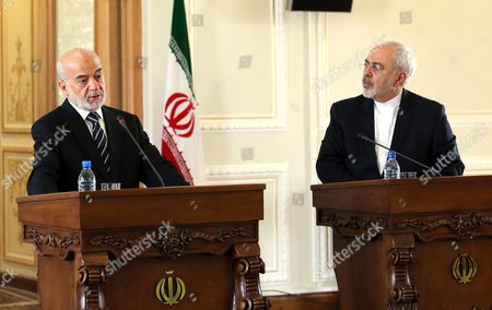 Iraqi Foreign Minister Ibrahim Al-jafari (l) Speaks During a Press Conference with His Iranian Counterpart Mohammad Javad Zarif (r) in Tehran Iran 06 January 2016 Jafari is Visiting Iran Amid Growing Regional Dispute Surrounding Saudi Arabia's Weekend Execution of Dissident Shiite Cleric Nimr Al-nimr and After Saudi Arabia Bahrain and Kuwait Broke Off Diplomatic Relations with Iran Zarif on 06 January Said Iran Wants No Tension in the Region and Would Always Welcome Dialogue with Its Neighbors Iran (islamic Republic Of) Tehran