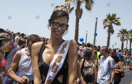 Stock Picture of Israeli-arab Talleen Abu Hanna 21 a Palestinian Christian From Northern Israel and Recently Crowned Miss Trans Israel 2016 in the Street on the Mediterranean Sea Waterfront where She was Dancing and Posing For Photographs with Members of the Lgbt Community During the Gay Pride Parade in Tel Aviv Israel 03 June 2016 the Parade Attracted Well Over 100 000 Members of the Lgbt (lesbian Gay Bisexual and Transgender) Community and Supporters Israel Tel Aviv