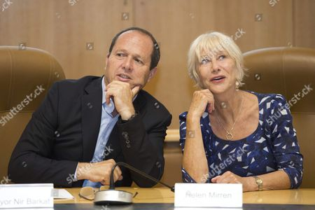 Jerusalem Mayor Nir Barkat (l) and British Actress Helen Mirren During a Ceremony in Which Barkat Grants Her with the 'Jerusalem of Gold Medal' For Arts and Humanities Excellence at His Office in Jerusalem Israel 22 June 2016 Helen Mirren Came to Israel to Award the Israeli-us Violinist Itzhak Perlman with One Million Us Dollar 'Genesis Prize' to Be Held in Jerusalem on 23 June Israel Jerusalem