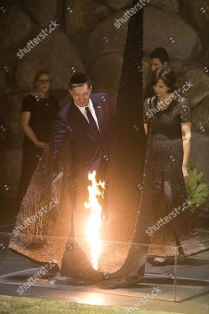 Lithuanian Prime Minister Algirdas Butkevicius (c-l) and His Wife Janina Butkeviciene (r) Rekindle the Eternal Flame in the Hall of Remembrances in the Yad Vashem Holocaust Memorial in Jerusalem 08 September 2015 As They Honor the Six-million Jews who Perished at the Hands of the Nazis During the Holocaust of World War Ii During Their Official Visit to Israel Israel Yad Vashem