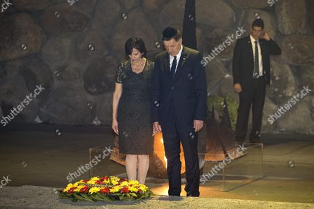 Lithuanian Prime Minister Algirdas Butkevicius (c) and His Wife Janina Butkeviciene (l) Stand For a Moment of Silence After Laying a Wreath in the Hall of Remembrances in the Yad Vashem Holocaust Memorial in Jerusalem 08 September 2015 As They Honor the Six-million Jews who Perished at the Hands of the Nazis During the Holocaust of World War Ii During Their Official Visit to Israel Israel Yad Vashem