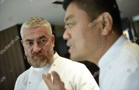 Brazilian Chef Alex Atala (l) and Japanese Chef Yoshihiro Narisawa Speak to Reporters at Narisawas Restaurant in Tokyo Japan 08 February 2016 Both Chefs Will Cook Together For a Dinner Marking the 120th Anniversary of the Establishment of Diplomatic Relations Between the Two Countries Japan Tokyo