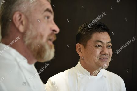 Stock Image of Brazilian Chef Alex Atala (l) and Japanese Chef Yoshihiro Narisawa Speak to Reporters at Narisawas Restaurant in Tokyo Japan 08 February 2016 Both Chefs Will Cook Together For a Dinner Marking the 120th Anniversary of the Establishment of Diplomatic Relations Between the Two Countries Japan Tokyo