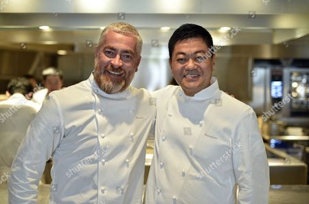 Stock Picture of Brazilian Chef Alex Atala (l) and Japanese Chef Yoshihiro Narisawa Pose in Narisawa's Restaurant Kitchen in Tokyo Japan 08 February 2016 Both Chefs Will Cook Together For a Dinner Marking the 120th Anniversary of the Establishment of Diplomatic Relations Between the Two Countries Japan Tokyo