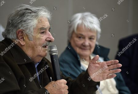 While Sitting Next to His Wife Lucia Topolansky (r) Former Uruguayan President Jose 'Pepe' Mujica (l) Speaks During a Press Conference Presenting the Japanese Translation of the Book 'Una Oveja Negra Al Poder: Confesiones E Intimidades De Pepe Mujica' (lit a Black Sheep to Power: Confessions and Intimacies of Pepe Mujica) in Tokyo Japan 06 April 2016 Jose Mujica is in Japan to Promote the Publication of the Book a Biographical Account of His Life and to Participate in Panel Discussions with Students Japan Tokyo