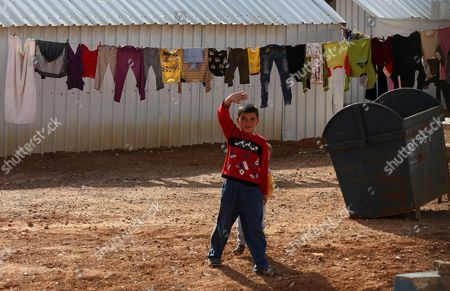 A Syrian Child Gestures at Azraq Syrian Refugee Camp Jordan 30 January 2016 Jordanian Prime Minister Abdullah Ensour Visited the Camp Days Before the Fourth International Donors' Conference in London to Discuss the Refugee Crisis and Ways to Support Them and the Host Countries Jordan Azraq