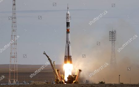 A Rocket Carrying the Soyuz Tma-18m Spacecraft with the Crew Members For the International Space Station (iss) Lifts Off From the Cosmodrome in Baikonur Kazakhstan 02 September 2015 the Launch of the Soyuz Spacecraft Sends Russian Cosmonaut Sergei Volkov on a Six-month Mission Aboard the International Space Station (iss) and Kazakhstan's Cosmonaut Aydyn Aimbetov and Denmark's Astronaut Andreas Mogensen From the European Space Agency Will Return to the Earth After Ten Days Kazakhstan Baikonur