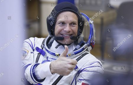 Denmark's Astronaut Andreas Mogensen Crew Member of the Mission to the International Space Station (iss) From the European Space Agency (esa) Gives a Thumb Up Before Boarding the Soyuz Tma-18m Rocket Just a Few Hours Before His Launch to the International Space Station Iss in Baikonur Kazakhstan Early 02 September 2015 the Launch of the Soyuz Spacecraft Will Send Russian Cosmonaut Sergei Volkov on a Six-month Mission Aboard the International Space Station (iss) and Kazakhstan's Cosmonaut Aydyn Aimbetov and Denmark's Astronaut Andreas Mogensen From the European Space Agency Will Return to the Earth After Ten Days Kazakhstan Baikonur