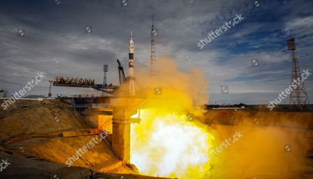 Stock Picture of A Rocket Carrying the Soyuz Tma-18m Spacecraft with the Crew Members For the International Space Station (iss) Lifts Off From the Cosmodrome in Baikonur Kazakhstan 02 September 2015 the Launch of the Soyuz Spacecraft Sends Russian Cosmonaut Sergei Volkov on a Six-month Mission Aboard the International Space Station (iss) and Kazakhstan's Cosmonaut Aydyn Aimbetov and Denmark's Astronaut Andreas Mogensen From the European Space Agency Will Return to the Earth After Ten Days Kazakhstan Baikonur