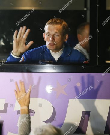 International Crew Member of the Mission to the International Space Station (iss) Denmark's Astronaut Andreas Mogensen From the European Space Agency (esa) Waves As He Departs the Cosmonaut Hotel to Head to Another Building Across the Baikonur Cosmodrome where They Will Suit-up For Their Soyuz Launch in Baikonur Kazakhstan Early 02 September 2015 the Launch of the Soyuz Spacecraft Will Send Russian Cosmonaut Sergei Volkov on a Six-month Mission Aboard the International Space Station (iss) and Kazakhstan's Cosmonaut Aydyn Aimbetov and Denmark's Astronaut Andreas Mogensen From Esa Will Return to Earth After Ten Days Kazakhstan Baikonur
