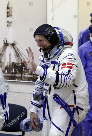 Crew Member of the Mission to the International Space Station Iss Denmark's Astronaut Andreas Mogensen From the European Space Agency (esa) Enters a Hall For Checking His Space Suit Before Boarding the Soyuz Tma-18m Rocket Just a Few Hours Before His Launch to the International Space Station Iss in Baikonur Kazakhstan Early 02 September 2015 the Launch of the Soyuz Spacecraft Will Send Russian Cosmonaut Sergei Volkov on a Six-month Mission Aboard the International Space Station (iss) and Kazakhstan's Cosmonaut Aydyn Aimbetov and Denmark's Astronaut Andreas Mogensen From Esa Will Return to Earth After Ten Days Kazakhstan Baikonur
