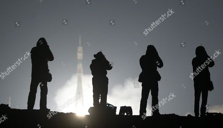 A Phase of the Launch of the Russian Soyuz Tma-20m Rocket From the Baikonur Cosmodrome in Kazakhstan 19 March 2016 the Rocket is Carrying Members of the Expedition 47/48 Us Astronaut Jeffrey Williams Russian Cosmonauts Oleg Skripochka and Alexei Ovchinin to the International Space Station (iss) Kazakhstan Baikonur