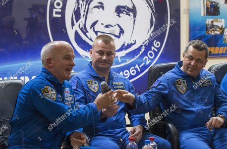 Stock Photo of Members of Main Crew Expedition 47/48 to International Space Station (iss) Us Astronaut Jeffrey Williams (l) and Russian Cosmonauts Oleg Skripochka (r) and Alexei Ovchinin (c) Attend a Press Conference at the Baikonur Cosmodrome in Kazakhstan 17 March 2016 the Crew is Set to Take Off From Kazakhstan's Baikonur Cosmodrome to the International Space Station (iss) on 19 March 2016 Kazakhstan Baikonur