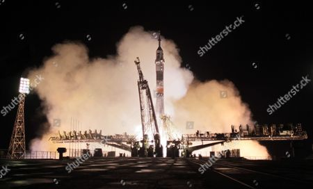 A Phase of the Launch of the Russian Soyuz Tma-20m Rocket From the Baikonur Cosmodrome in Kazakhstan 19 March 2016 Carrying Members of the Expedition 47/48 Us Astronaut Jeffrey Williams Russian Cosmonauts Oleg Skripochka and Alexei Ovchinin to the International Space Station (iss) Kazakhstan Baikonur
