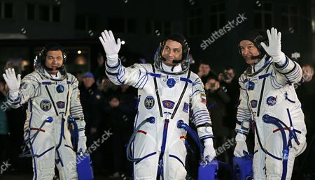 Members of Main Crew Expedition 47/48 to International Space Station (iss) Us Astronaut Jeffrey Williams (r) Russian Cosmonaut Oleg Skripochka (l) and Russian Cosmonaut Alexei Ovchinin (c) Attend a Sending-off Ceremony at the Baikonur Cosmodrome in Kazakhstan 19 March 2016 the Crew is Set to Take Off From Kazakhstan's Baikonur Cosmodrome to the International Space Station (iss) on 19 March 2016 Kazakhstan Baikonur