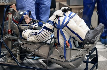 Member of Main Crew Expedition 47/48 to International Space Station (iss) Us Astronaut Jeffrey Williams Test His Space Suits During the Pre-launch Preparations at the Baikonur Cosmodrome in Kazakhstan 18 March 2016 the Crew is Set to Take Off From Kazakhstan's Baikonur Cosmodrome to the International Space Station (iss) on 19 March 2016 Kazakhstan Baikonur
