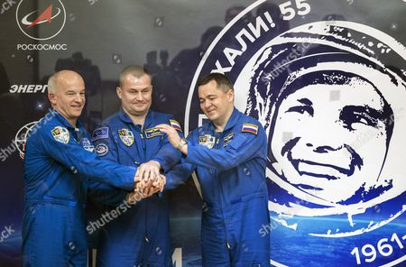 Members of Main Crew Expedition 47/48 to International Space Station (iss) with Us Astronaut Jeffrey Williams (l) Russian Cosmonauts Oleg Skripochka (r) and Alexei Ovchinin (c) Shake Hands During a Press Conference at the Baikonur Cosmodrome in Kazakhstan 17 March 2016 the Crew is Set to Take Off From Kazakhstan's Baikonur Cosmodrome to the International Space Station (iss) on 19 March 2016 Kazakhstan Baikonur