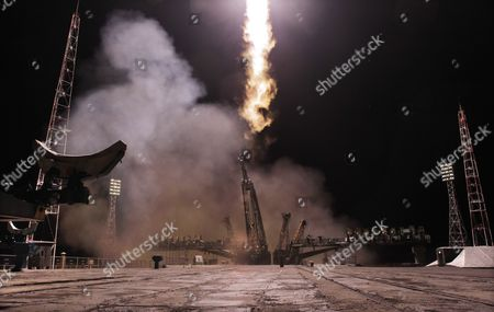 The Russian Soyuz Tma-20m Rocket Takes Off From the Baikonur Cosmodrome in Kazakhstan 19 March 2015 the Soyuz was Carrying Members of the Expedition 47/48 Us Astronaut Jeffrey Williams Russian Cosmonauts Oleg Skripochka and Alexei Ovchinin to the International Space Station (iss) Kazakhstan Baikonur