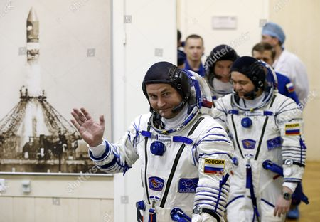 Stock Picture of Members of Main Crew Expedition 47/48 to International Space Station (iss) Us Astronaut Jeffrey Williams(c) Russian Cosmonaut Oleg Skripochka (r) and Russian Cosmonaut Alexei Ovchinin (l) Walks Before Test Their Space Suits During the Pre-launch Preparations at the Baikonur Cosmodrome in Kazakhstan 18 March 2016 the Crew is Set to Take Off From Kazakhstan's Baikonur Cosmodrome to the International Space Station (iss) on 19 March 2016 Kazakhstan Baikonur