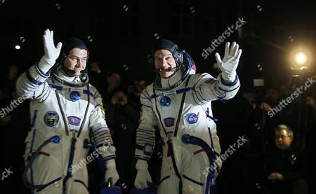 Members of Main Crew Expedition 47/48 to International Space Station (iss) Us Astronaut Jeffrey Williams (r) and Russian Cosmonaut Alexei Ovchinin (l) Attend a Sending-off Ceremony at the Baikonur Cosmodrome in Kazakhstan 19 March 2016 the Crew is Set to Take Off From Kazakhstan's Baikonur Cosmodrome to the International Space Station (iss) on 19 March 2016 Kazakhstan Baikonur