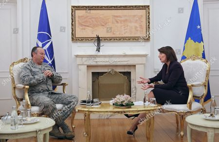 Supreme Allied Commander Europe (saceur) Us General Philip Breedlove (l) and President of Republic of Kosovo Atifete Jahjaga (r) During Their Meeting in Pristina Kosovo 04 February 2015 General Philip Breedlove is on a One-day Official Visit to Kosovo Serbia and Montenegro Pristina