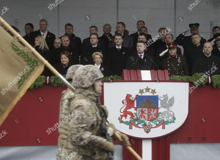 Latvian Prime Minister Laimdota Straujuma (l) Parliament (saeima) Speaker Inara Murniece (2-l) and President Raimonds Vejonis (c) During a Parade of the National Armed Forces Marking Latvian Independence Day in Riga Latvia 18 November 2015 Latvian Independence Day Commemorates the Declaration of Independence of the Republic of Latvia From German and Russian Occupation on 18 November 1918 After the End of the First World War Latvia Riga
