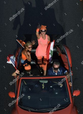 Supporters of the 'Free Patriotic Movement' Party of Presidential Candidate General Michel Aoun Carry Party Flags During a Protest Claiming Violations of Constitution in Beirut Lebanon 12 August 2015 Lebanese Politicians Have Been Unable to Agree on a Replacement For Former President Michel Suleiman For Over Four Hundred Days Since His Mandated Ended Swapping Blame Over the Prolonged Deadlock Lebanon Beirut