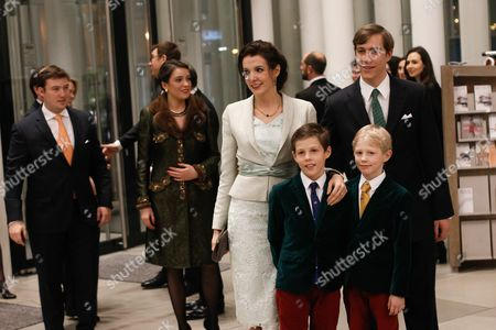 Luxembourg's Princess Tessy (4-r) and Her Husband Prince Louis (r) Arrive with Their Sons Prince Noah (front-r) and Prince Gabriel at the Philharmonie Luxembourg the Grande-duchesse Josephine-charlotte Concert Hall in Luxembourg 09 January 2016 the Royal Family Invited to a Special Concert by the Luxembourg Philharmonic Orchestra to Mark the 95th Birthday of Former Grand Duke Jean on 05 January Luxembourg Luxembourg