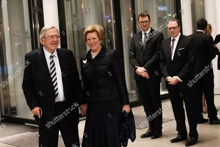 Stock Picture of Constantine Ii of Greece (l) and His Wife Queen Anne-marie of Greece (r) Arrive at the Philharmonie Luxembourg the Grande-duchesse Josephine-charlotte Concert Hall in Luxembourg 09 January 2016 the Royal Family Invited to a Special Concert by the Luxembourg Philharmonic Orchestra to Mark the 95th Birthday of Former Grand Duke Jean on 05 January Luxembourg Luxembourg