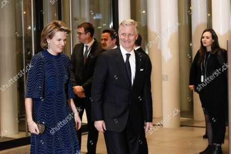 Belgian Queen Mathilde (l) and King Philippe Arrive at the Philharmonie Luxembourg the Grande-duchesse Josephine-charlotte Concert Hall in Luxembourg 09 January 2016 the Royal Family Invited to a Special Concert by the Luxembourg Philharmonic Orchestra to Mark the 95th Birthday of Former Grand Duke Jean on 05 January Luxembourg Luxembourg